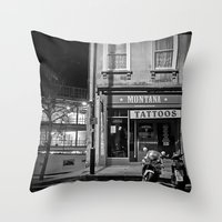 tattoos Throw Pillows featuring Montana Tattoos by Melissa Batchelder Photography