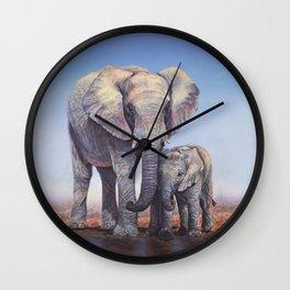 Elephants Mom Baby Wall Clock