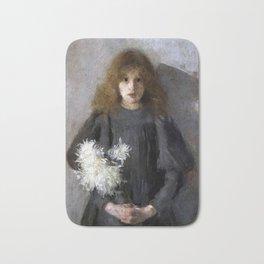 Boznańska-Girl with chrysanthemums Bath Mat