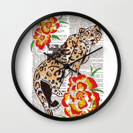 Snow Leopard in Summer (leopard with portulaca) Wall Clock