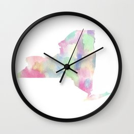 Watercolor State Map - New York NY colorful Wall Clock