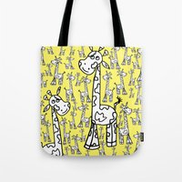 giraffes Tote Bags featuring giraffes  by Whatcha-McCall-it