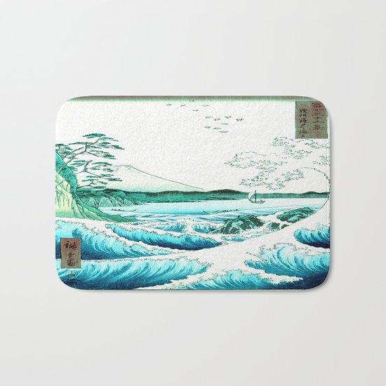 The Great Wave : Aqua Teal Bath Mat