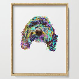Colored Cockapoo Dog Serving Tray