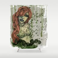 poison ivy Shower Curtains featuring Poison Ivy v1 by Hallowette