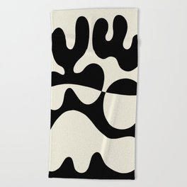 Mid Century Modern Organic Abstraction 235 Black and Linen Beach Towel