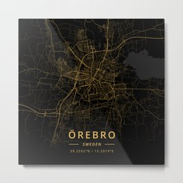Orebro, Sweden - Gold Metal Print