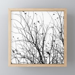 Black white tree branch bird nature pattern Framed Mini Art Print