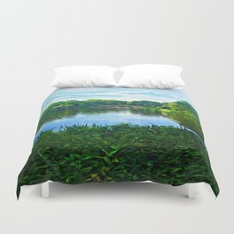Central Park Bridge Over Peaceful Waters Duvet Cover
