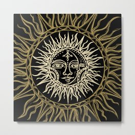 Sun Moon Face Metal Print