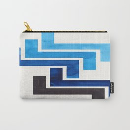 Prussian Blue Pattern Mid-century Modern Simple Geometric Pattern Watercolor Minimalist Art Squares Carry-All Pouch