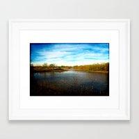 tye dye Framed Art Prints featuring Lake At Tye, Texas by Groovyal
