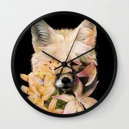 Foxy Flowers Wall Clock