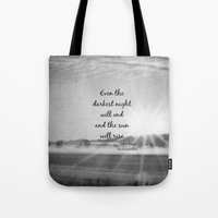 les miserables Tote Bags featuring Les Miserables Quote Victor Hugo by KimberosePhotography