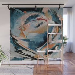 Drift 6: a bold mixed media piece in blues, brown, pink and red Wall Mural