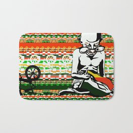Ghandi and his Spinning Wheel Bath Mat