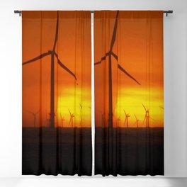 Windmills at Sunset (Digital Art) Blackout Curtain