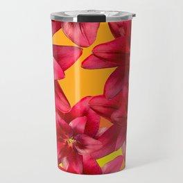 Red Beauty Lilies - Autumn Color - #Society6 #buyart Travel Mug