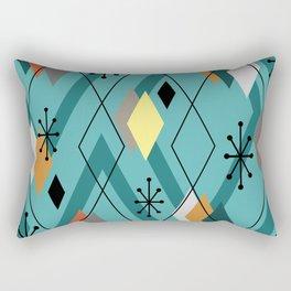 Mid Century Modern Scattered Diamonds Turquoise Rectangular Pillow