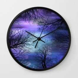 Black Trees Purple Blue Abstract Sky Wall Clock