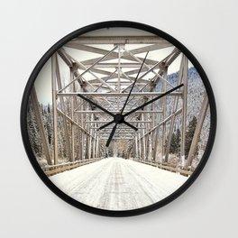 Snow Covered Bridge Wall Clock