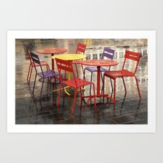 Colorful chairs and tables Art Print