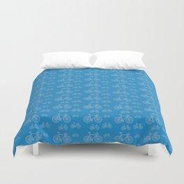 Blue Bike Pattern Duvet Cover