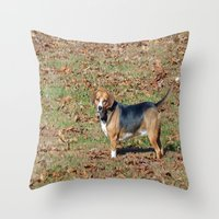beagle Throw Pillows featuring Beagle by Frankie Cat