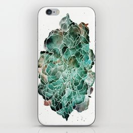 Abstract Watercolor Cloud Painting in Blue, Teal, and Green iPhone Skin