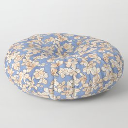 Plumbago Floral Pattern | Orange Blue Floor Pillow
