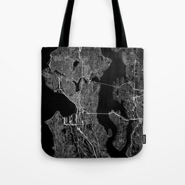 Seattle Black Map Tote Bag