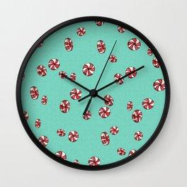 Peppermint Candy in Aqua Wall Clock