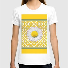 Golden Modern Art Deco Shasta Daisy Pattern Art T-shirt