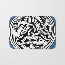 Celtic Art - Dog Triskele - on Blue Bath Mat