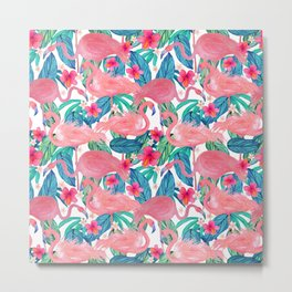 Tropical Flamingo Watercolor Floral Metal Print