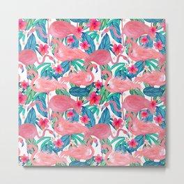 Tropical Flamingo Watercolor Floral Metal Print