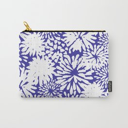 Blue and White Zinnias Toss Carry-All Pouch