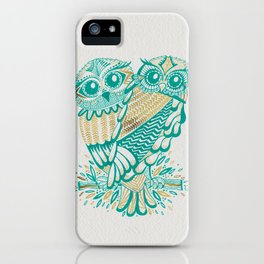 Owls – Turquoise & Gold iPhone Case