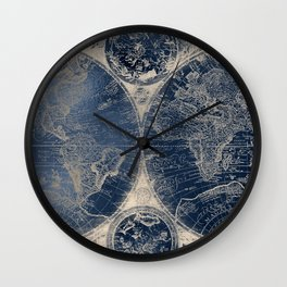 Antique World Map Gold Navy Blue Library Wall Clock