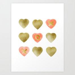 Tic tac toe hearts - blush and gold palette Art Print