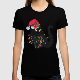 Black Santa Cat Lights Christmas T-shirt
