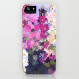 Pink Hollyhocks in My Garden iPhone Case