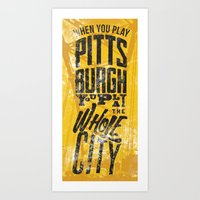 steelers Art Prints featuring Pittsburgh Steelers by Sciulli