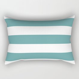 Cadet blue - solid color - white stripes pattern Rectangular Pillow