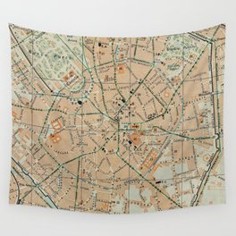Vintage Map of Milan Italy (1911) Wall Tapestry