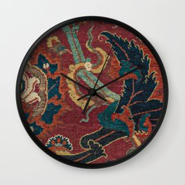 Flowery Arabic Rug III // 17th Century Colorful Plum Red Light Teal Sapphire Navy Blue Ornate Patter Wall Clock