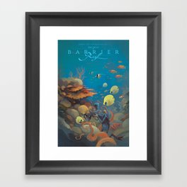 Retro Great Barrier Reef Australia Travel Poster Framed Art Print