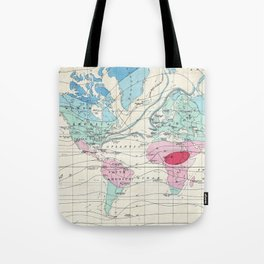Vintage World Climate Map (1870) Tote Bag