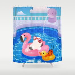 Cory cats in the swimming pool 2 Shower Curtain