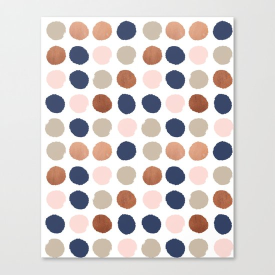 Rose Gold navy copper sparkle modern dots polka dots rosegold trendy pattern cell phone accessories Canvas Print